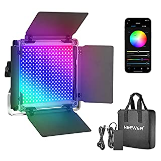 Neewer 660 RGB Led Light with APP Control, 660 SMD LEDs CRI95/3200K-5600K/Brightness 0-100%/0-360 Adjustable Colors/9 Applicable Scenes with LCD Screen/U Bracket/Barndoor, Metal Shell for Photography (B082MHBDC8)   Amazon price tracker / tracking, Amazon price history charts, Amazon price watches, Amazon price drop alerts