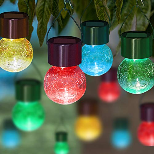 MAGGIFT 8 Pack Solar Hanging Ball Lights with Umbrella Clips, Outdoor Light up Christmas Ornaments Tree Decorations Solar Lantern Multi-Color Changing Cracked Glass Lights for Holiday Yard Patio