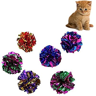 Chytaii 10x Cats Toys Kitten Cat Teaser Interactive Toy Crinkle Balls Rustle Sound Ball Toys for Cats Random Colour