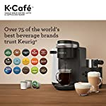 Keurig K-Cafe Coffee Maker, Single Serve K-Cup Pod Coffee, Latte and Cappuccino Maker, Comes with Dishwasher Safe Milk… 30 COFFEE, LATTES & CAPPUCCINOS: Use any K-Cup pod to brew coffee, or make delicious lattes and cappuccinos. SIMPLE BUTTON CONTROLS: Just insert any K-Cup pod and use the button controls to brew delicious coffee, or make hot or iced lattes and cappuccinos. LARGE 60oz WATER RESERVOIR: Allows you to brew 6 cups before having to refill, saving you time and simplifying your morning routine. Removable reservoir makes refilling easy.