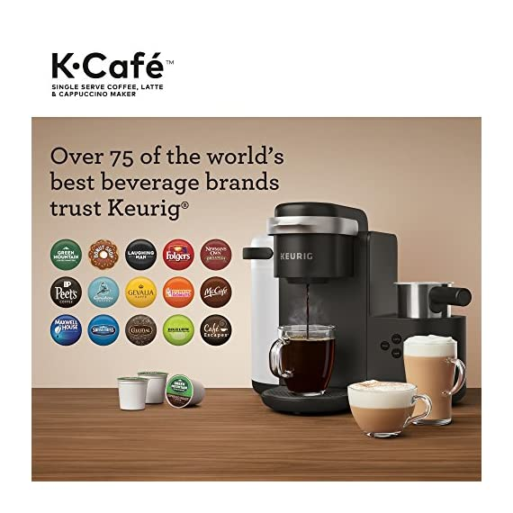 Keurig K-Cafe Coffee Maker, Single Serve K-Cup Pod Coffee, Latte and Cappuccino Maker, Comes with Dishwasher Safe Milk… 14 COFFEE, LATTES & CAPPUCCINOS: Use any K-Cup pod to brew coffee, or make delicious lattes and cappuccinos. SIMPLE BUTTON CONTROLS: Just insert any K-Cup pod and use the button controls to brew delicious coffee, or make hot or iced lattes and cappuccinos. LARGE 60oz WATER RESERVOIR: Allows you to brew 6 cups before having to refill, saving you time and simplifying your morning routine. Removable reservoir makes refilling easy.