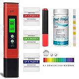 pH Messgerät, Pool Teststreifen x 50, Wassertester für Pool, Trinkwasser pH-Wert/Chlor/Alkalinität/Algizid und Wasserhärte