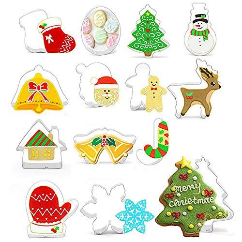 gotyou 14 Pièce Moule à Biscuits de Noël,Moule à Biscuits en Acier Inoxydable,Bonhomme de Neige/Arbre de Noël/Wapiti,Emporte-Pièces en Acier Inoxydable,Moule de Cuisson Bricolage