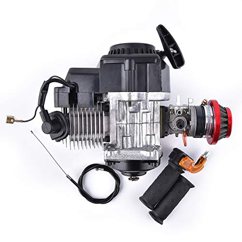 Engine 49CC 2-Stroke + Handle Bar+ Throttle Cable +Air Filter replacement for Motor Mini Bike Scooter ATV 6T T8F Chain 44MM Bore Gas Pocket bike