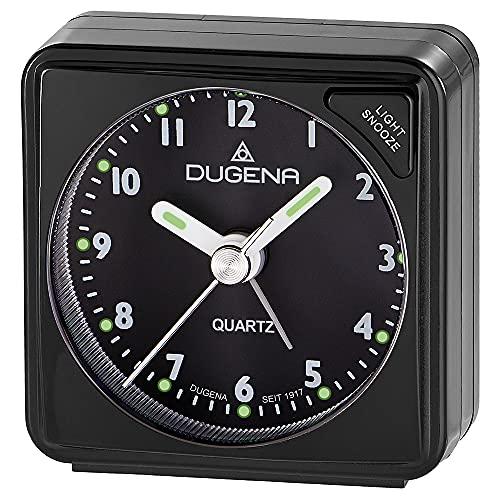 DUGENA Quarz-Reisewecker, mit Weckzeiger, Weckwiederholung, Zifferblattbeleuchtung, ansteigendes Wecksignal, Maße 55 x 57 x 30 mm, inklusive Batterie (schwarz/schwarz/schwarz)