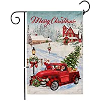 Hexagram 12 x 18 inch Christmas Garden Flags for Christmas Home Decorations, Santa Claus Winter Holiday Yard Flags