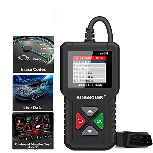 KINGBOLEN OBD2 Scanner ,Code Reader Automotive Engine Light Check Scan Tool Checks O2 Sensor and EVAP Systems with Full OBD2 Functions,Supports Mode6 with DTC Lookup, All 10 Modes of obd2.