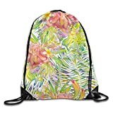 Hand Drawn Seamless Watercolor Pattern with Palm Leaves Monstera Leaves and Ginger Flowers Floral Drawstring Bags School Backpack For Teens College Drawstring Shoulder Bag Backpack String Bags
