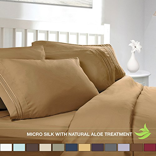 Clara Clark Bed Sheet Set, Camel gelb Gold, Twin