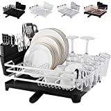 [Upgraded] ROTTOGOON Aluminum Dish Drying Rack, Compact Rustproof Dish Rack and Drainboard Set, Dish Drainer with Adjustable Swivel Spout, Removable Cutlery and Cup Holder, Silver & Black