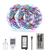 DAYBETTER Led Strip Lights 32.8ft Color Changing 3528 LED Light Strip Kit for room Rope Light Color Only RGB NO White Color with 12V Power Supply
