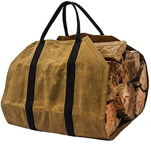 MJJEsports khaki Brandhout Carrier Log Carrier hout draagtas voor open haard 16oz Waxed Canvas