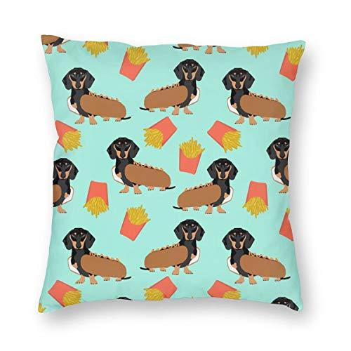 surce Kussenslopen Dachshund Hot Hond En Fries Voedsel Grappige Hond Kostuum Leuke Hond Wiener Hond voor Slaapbank slaapkamer woonkamerTwee Zijden afdrukken 18x18 inch