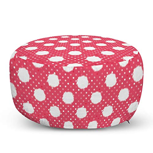 Ambesonne Pink Polka Dots Pouf Cover with Zipper, Retro Style Fluffy Furry with Blots Romantic Feels, Soft Decorative Fabric Unstuffed Case, 30' W X 17.3' L, Dark Coral Pale Pink