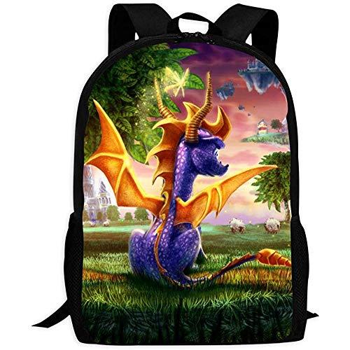 Vintage Rucksack,Fantasy Sp-Yro Drache | Schultaschen Rucksack Mit Mehreren Taschen Für Kinder/Jugendliche/Jungen/Mädchen