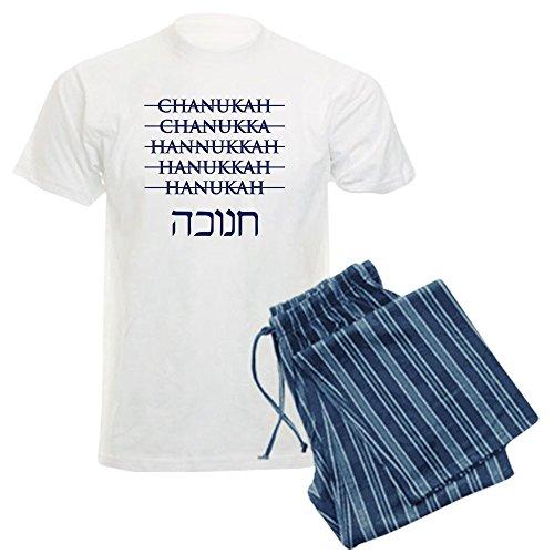CafePress Spelling Chanukah Hanukkah Hanukah Men's Light Paj Unisex Novelty Cotton Pajama Set, Comfortable PJ Sleepwear