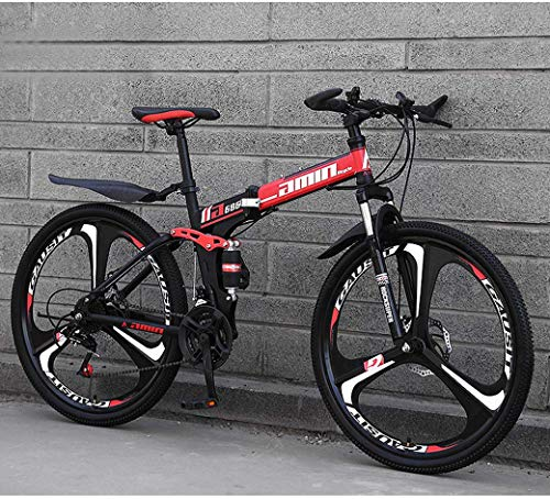 ZTYD Mountain Bike Folding Bikes, 26' 30-Speed Double Disc Brake Full Suspension Anti-Slip, Lightweight Frame, Suspension Fork,R 2