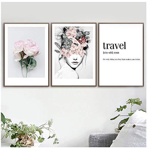 Jwqing 3 stuks bloemblaadjes meisjes pioenroos muurkunst canvas schilderij citaten Scandinavische posters en prints muurschilderingen voor woonkamer decoratie (40x60cm zonder lijst)