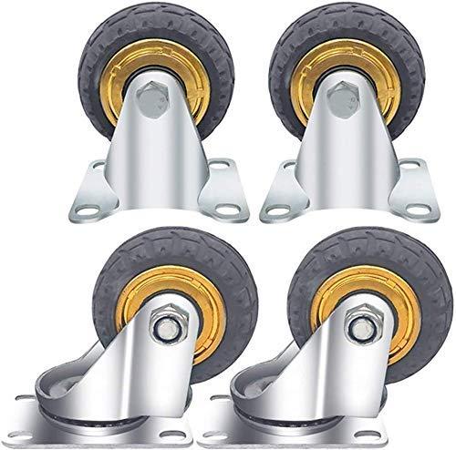 ZhenHe 4 Castor Wheels, Goma Ruedas for Servicio Pesado Ruedas giratorias de Ruedas Muebles Mesa Carrito Cama Workbench (Gris) Accesorios Torno