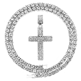 HH Bling Empire Gold Silver Cross Necklace for Men Iced Out Diamond Cross Tennis Chains for Women 24 Inches (Cross F-Silver, & Tennis)