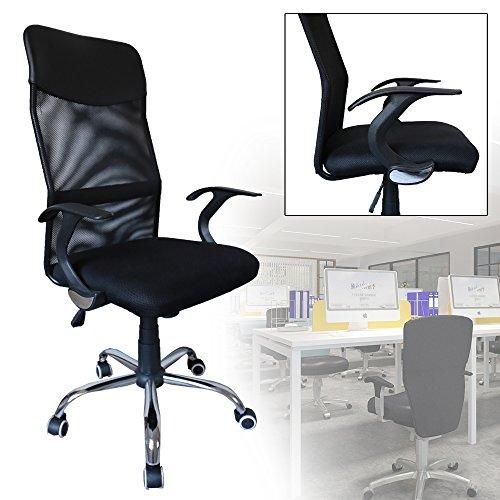 HG Sedia da ufficio,con schienale reclinabile in rete Nero sedia da scrivania con Copernico con fodera in rete Sedia da ufficio ergonomica sedia traspirante girevole con braccioli regolabili