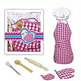 Queta 11pcs Enfants Chef Set Enfants Cuisiner Jouer Cuisine Tabliers Imperméables Tablier de Cuisine Enfant Accessoires Cuisine Enfant