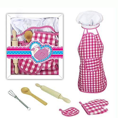 Queta Kinder Chef Kostüm, Kinder Kochschürze 11pcs Schürzen-Set mit Kochmütze & Ofenhandschuh & Küchenzubehör Kinder Geschenk