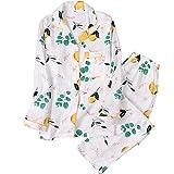 XFLOWR Camisón Ropa de Dormir Primavera/Verano Pijamas de Mujer Algodón Suave Conjunto de Ropa de Dormir de Manga Larga Ropa de hogar cómoda para Mujer M Beige