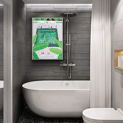 hetingyue Nordic Swimmingpool Hotel Dekoration Malerei Architektur Kunstdruck Poster Wandbild auf Leinwand Wohnzimmer Home Dekoration rahmenlose Malerei 60x80cm
