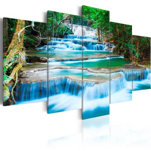 murando - Cuadro en Lienzo Cascada 200x100 - Impresion de 5 Piezas Material Tejido no Tejido Impresion Artistica Imagen Grafica Decoracion de Pared Naturaleza Paisaje 030212-101