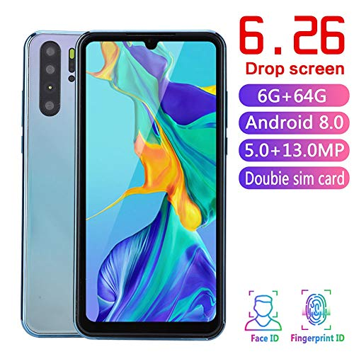 6,28'' Pantalla Teléfono Inteligente 2 + 16G SIM Dual Desbloqueado Facial 3G Smart Phone Sistema Android 8.0 con 3600mAh Batería Dual Cámara Gradiente en Color(Enchufe UE)