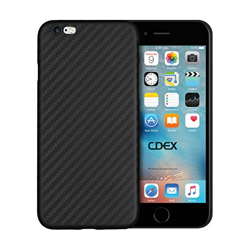 doupi UltraSlim Hülle für iPhone 6 / 6S (4,7 Zoll), Carbon Fiber Look Kohlefaser Optik Ultra Dünn Handyhülle Cover Bumper Schutz Schale Hard Case Taschenschutz Design Schutzhülle, schwarz