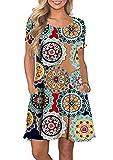 YMING Vestido básico para mujer con estampado de flores, vestido de manga corta con bolsillo XS-5XL