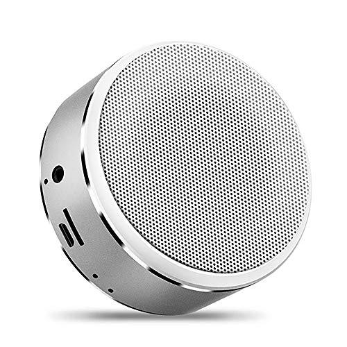 Mini Bluetooth 4,2 luidspreker draadloos draagbare Bluetooth muziekbox stereo geluid met diepe bass metalen behuizing ingebouwde microfoon voor handsfree bellen AUX en micro-USB-kabel ondersteunt TF-kaart zilver