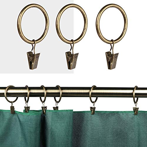 40 Pcs Magalée Curtain Rings with Clips, Fits up to 1.2-Inch Rod, Clip Rings Heavy Duty Curtain Clip with Rings   Antique Bras