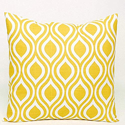 Eliuji Nicole Diseño geométrico Funda de cojín Decorativa Funda de Almohada Funda de Almohada con Cierre de Cremallera Oculta 45x45cm- Amarillo