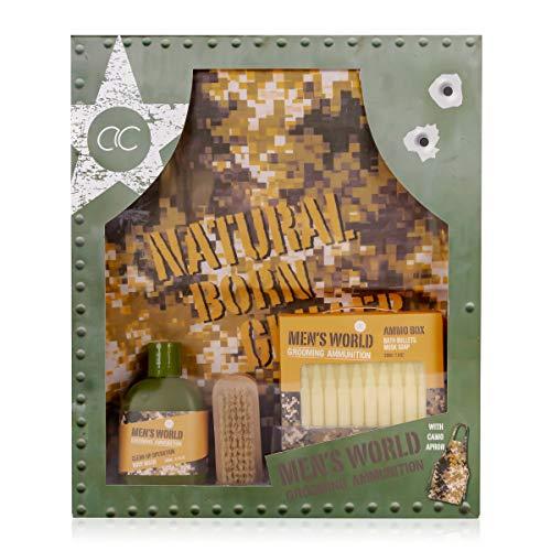 Accentra Coffret cadeau Men's World Born to Grill pour homme, gel douche, savon en forme de munition, brosse à ongles en bois et tablier de barbecue