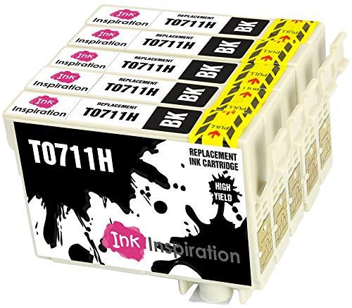 INK INSPIRATION® Ersatz für Epson T0711H Schwarz Druckerpatronen 5er-Pack kompatibel mit Epson Stylus D120 DX7400 DX7450 SX205 SX210 SX215 SX218 SX405 SX415 SX515W SX600FW B40W BX300F BX310FN BX610FW