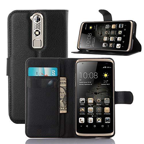 ECENCE Handy-Schutzhülle - Handytasche für ZTE Axon Mini Schwarz - Smarthone Case Cover stoßfest mit Kartenfach - Handycase mit Stand-Funktion 24020310