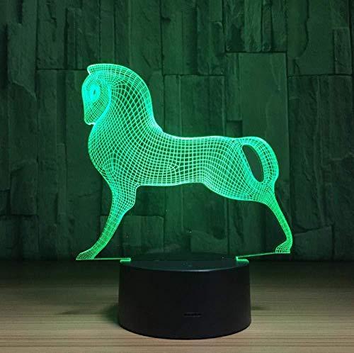 3D Luz De Noche Led lámpara de proyección lámpara Horse horse Decoración Del Hogar Regalo De Cumpleaños Para Niños Habitación De Niños Con interfaz USB, cambio de color colorido