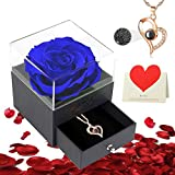 Birthday Gifts for Women - Preserved Rose Flower Gifts for Women/Mom/Girlfriend, Forever Eternal Rose with 100 Languages Love You Necklace Gift for Christmas Valentines Mother's Day Anniversary(Blue)