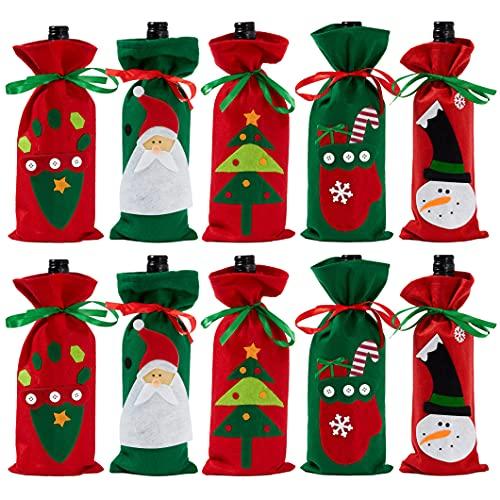 THE TWIDDLERS 10 Bolsas Navideñas para Botellas de Vino| Fieltro Premium, Resistente, Reutilizable| Fundas para Botellas de Vino de Navidad para Fiestas, Decoración de Mesa, Regalos.
