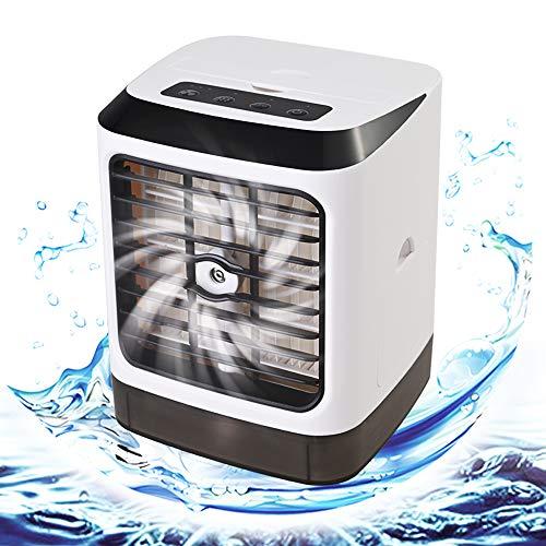 GOLDGE Mini Raffreddatore D'aria USB Condizionatore Portatili, Evaporativo Purificatore Umidificatore con 480 ml, Air Cooler con 3 Velocità del Vento Regolabili, per Casa Ufficio Viaggi