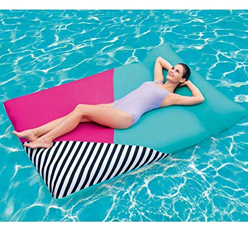 QIROG Adult Comfortable Inflatable Fabric Bean Bag Pool Float Water Air Bed with Pillow Cushion Pool Floats