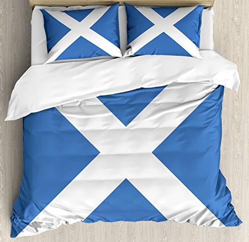 ABAKUHAUS Schotland Dekbedovertrekset, Vlag Real van een natie Art, Decoratieve 3-delige Bedset met 2 Sierslopen, 200 cm x 200 cm, Azure Blue and White