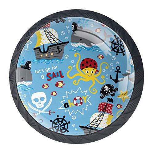 Schubladengriffe Drop Bail Pull Schrank Truhe Sailor Icon Bier, Piratenmotiv Cartoon Premium, 3.5×2.8CM/1.38×1.10IN