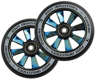 Root Industries Turbine Wheels 110mm Black/BlueRay Blue Ray Blue Chrome (Pair)