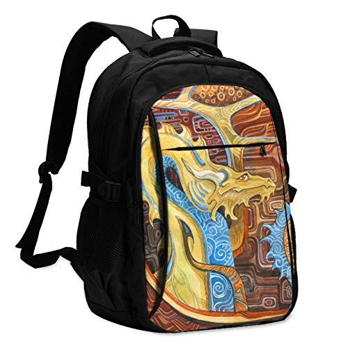 Dragon in Klimts Style Travel Laptop Backpack with USB Charging Port Multifunction Work School Bag