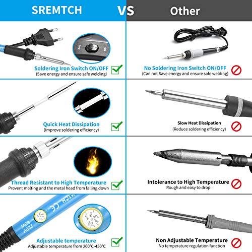 Fer à Souder Kit, SREMTCH 60W Kit de Soudage Électrique de Précision avec Interrupteur On/Off,...