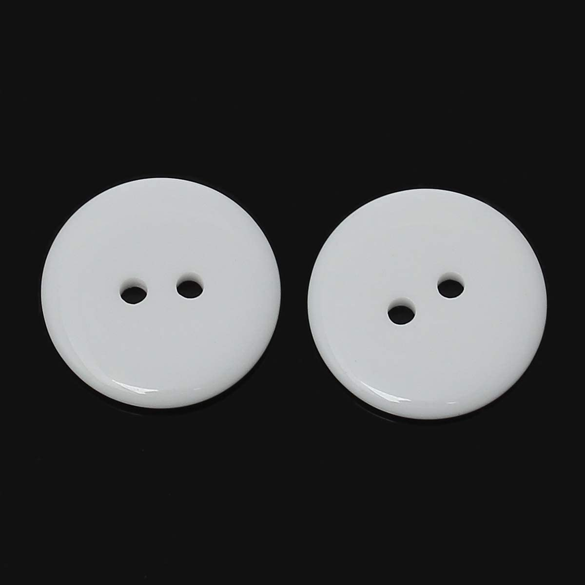 25mm Resin Button 1 Inch White Buttons Two Holes for Sewing and